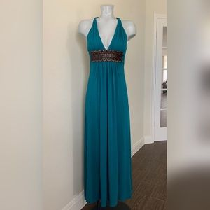 Teal Leather Belted Sky Maxi